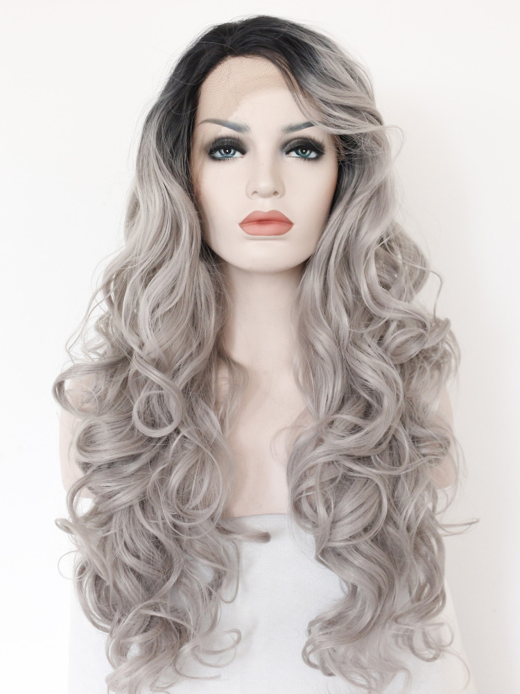 "Long Curly Black To Silver 26"" Lace Front Wigs VGW05046"