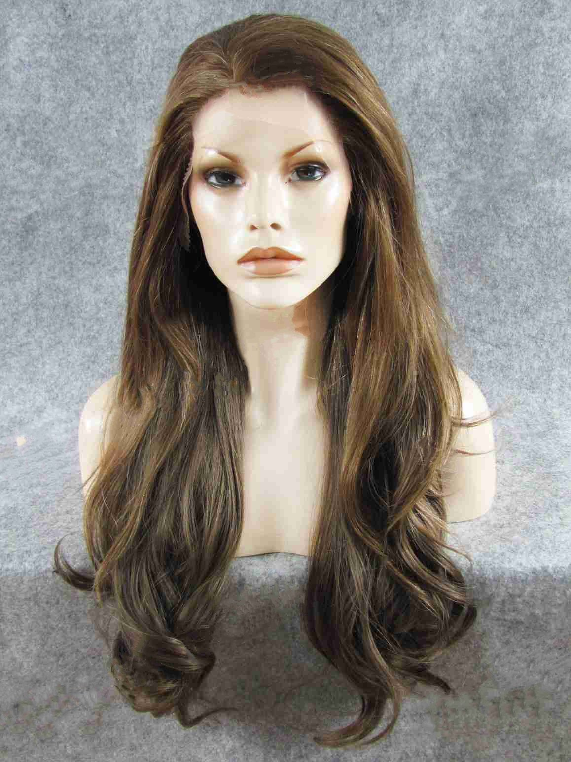 "Long Straight Dark Brown 26"" Lace Front Wigs VGW05047"