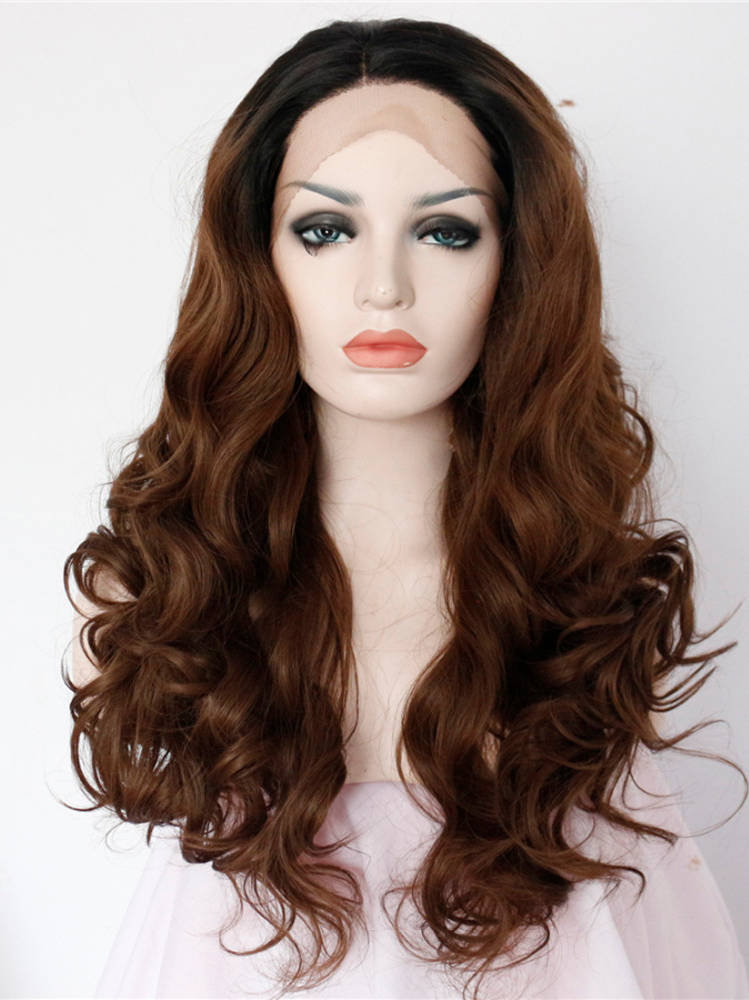 "Long Curly Black To Brown Ombre 20"" Lace Front Wigs VGW05050"