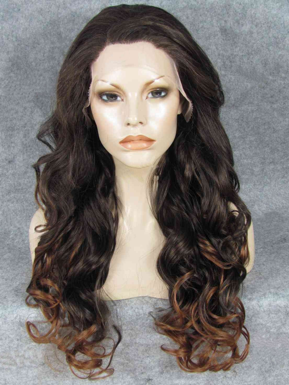 "Long Curly Brown To Auburn Ombre 24"" Lace Front Wigs VGW05051"