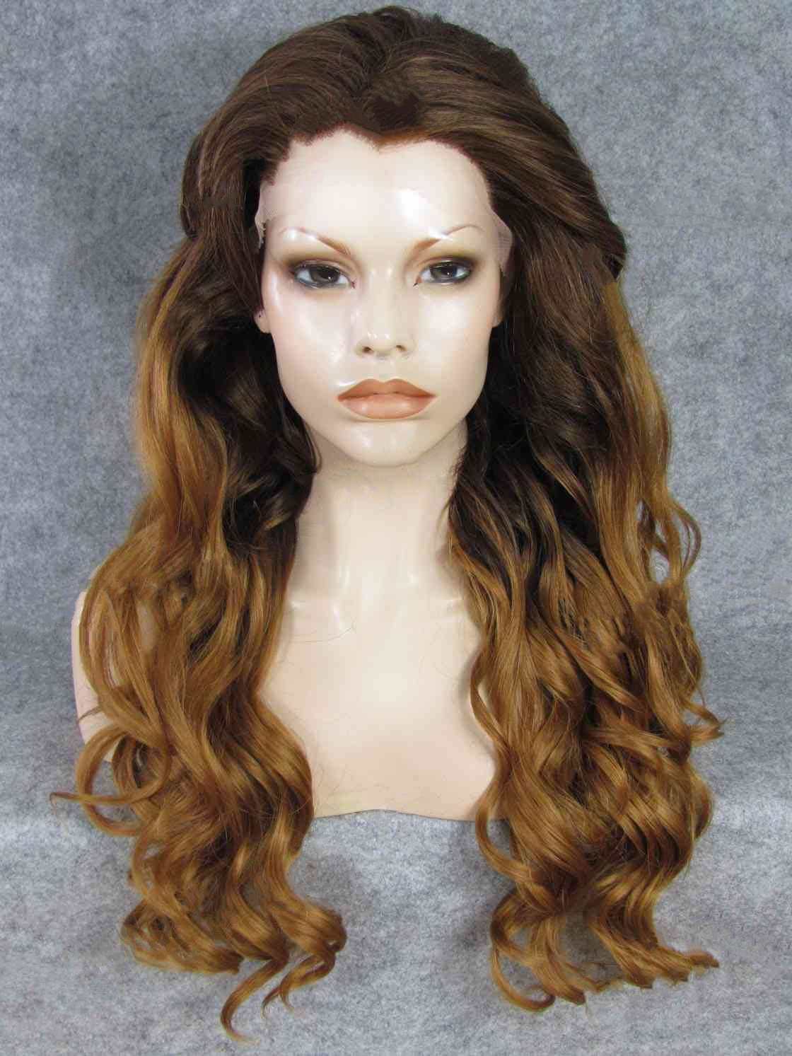 "Long Wavy Brown To Dark Blonde 26"" Lace Front Wigs VGW05052"