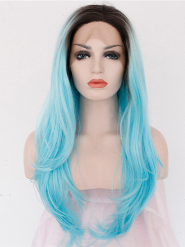 "Long Straight Black To Turquoise 24"" Lace Front Wigs VGW05057"