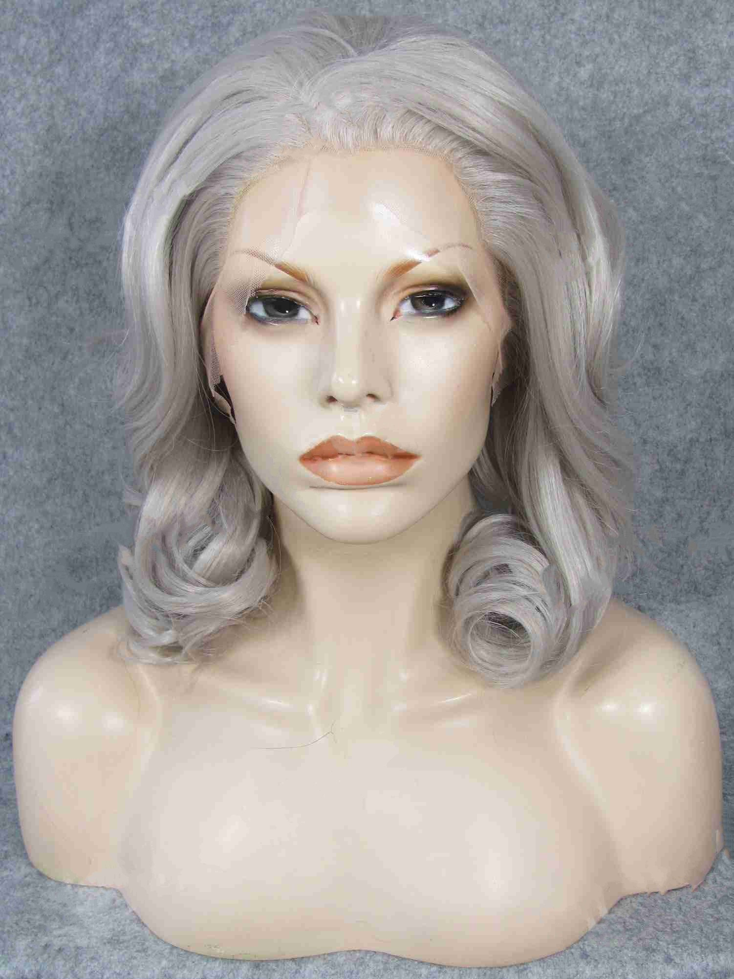 "Shoulder Length Curly Silver 16"" Lace Front Wigs VGW05058"