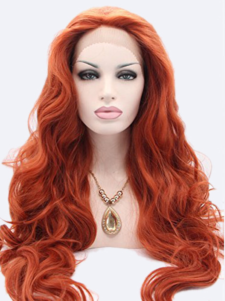 "Long Wavy Copper 26"" Lace Front Wigs VGW05059"