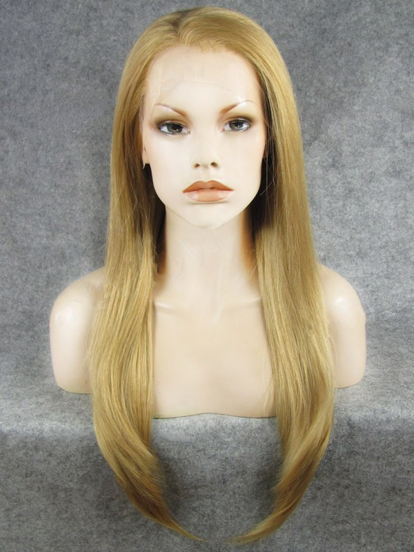 "Long Straight Blonde 24"" Lace Front Wigs VGW05060"