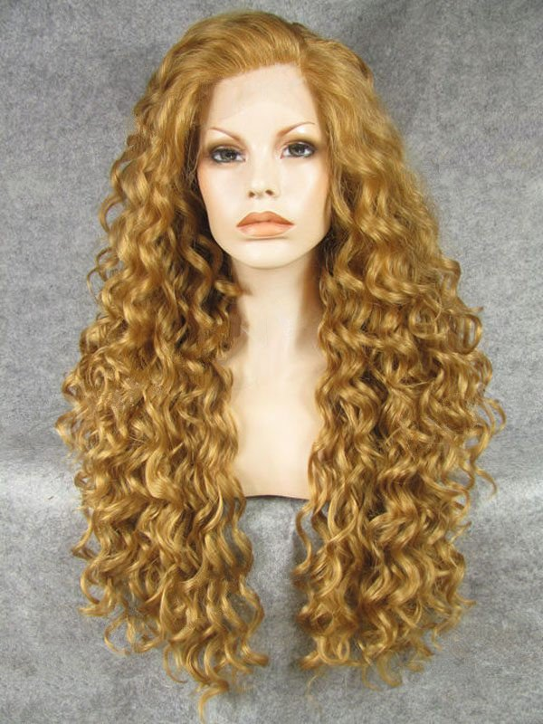 "26"" Medallion Curly Lace Front Synthetic Wigs Wigs VGW05063"