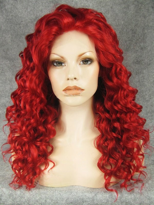 "20"" Red Curly Lace Front Synthetic Wigs Wigs VGW05064"