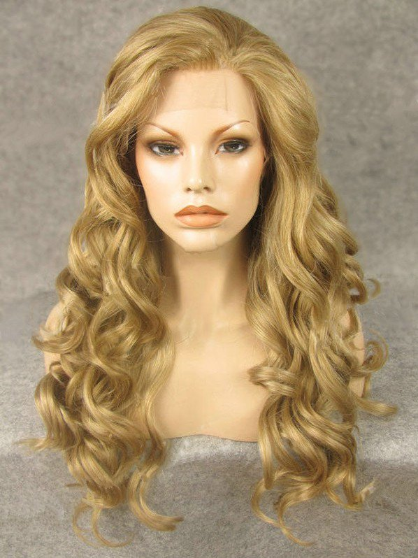"24"" Light Yellow Wavy Lace Front Synthetic Wigs Wigs VGW05066"