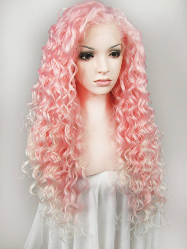 "24"" Baby Pink Curly Lace Front Synthetic Wigs Wigs VGW05068"