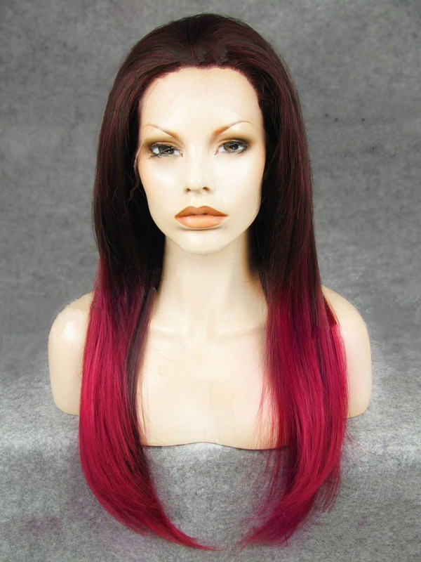 "24"" Bright Rust Red To Magenta Straight Lace Front Wigs Wigs VGW05069"