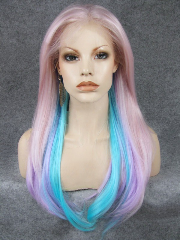 "24"" Soft Peach With Multiple Colors Straight Lace Front Wigs Wigs VGW05070"