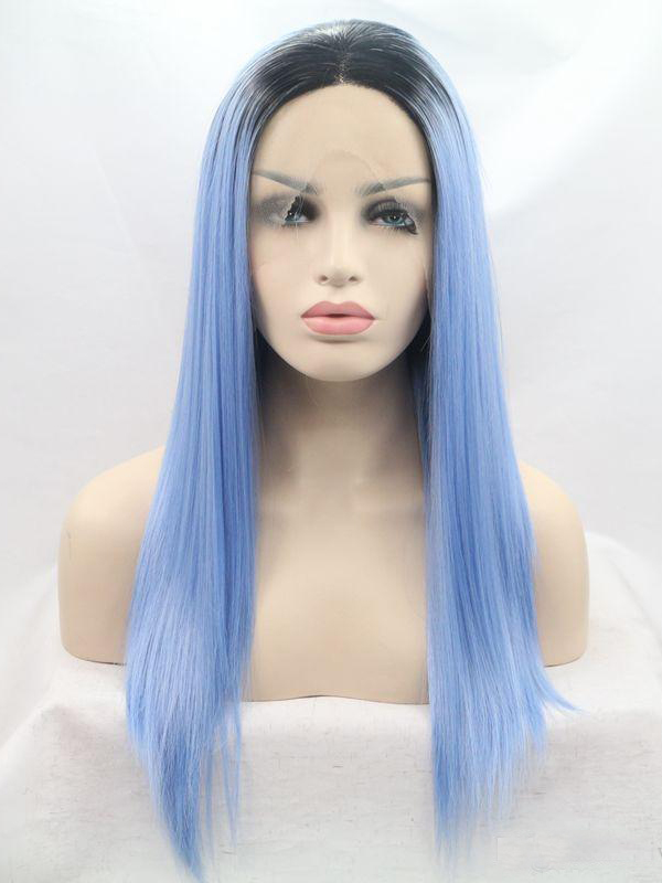 "24"" Black To Power Blue Ombre Colorful Straight Lace Front Wigs Wigs VGW05072"