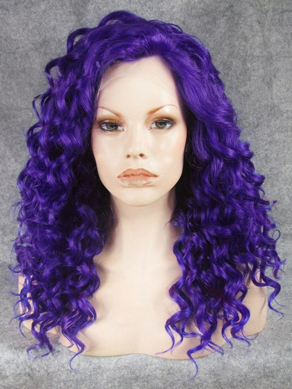 "20"" Indigo Curly Lace Front Synthetic Wigs Wigs VGW05073"