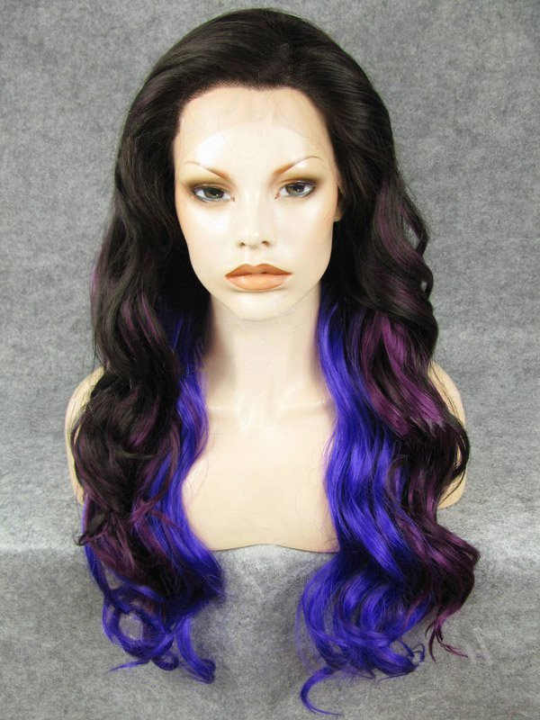 """24"""" Black With Purple And Indigo Colorful Wavy Lace Front Wigs Wigs VGW05074"""