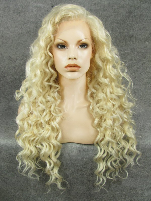 "24"" Daffodil Curly Lace Front Synthetic Wigs Wigs VGW05075"
