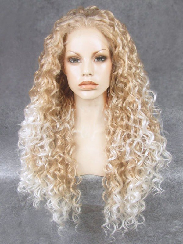 "26"" Champagne Ombre Curly Lace Front Synthetic Wigs Wigs VGW05076"