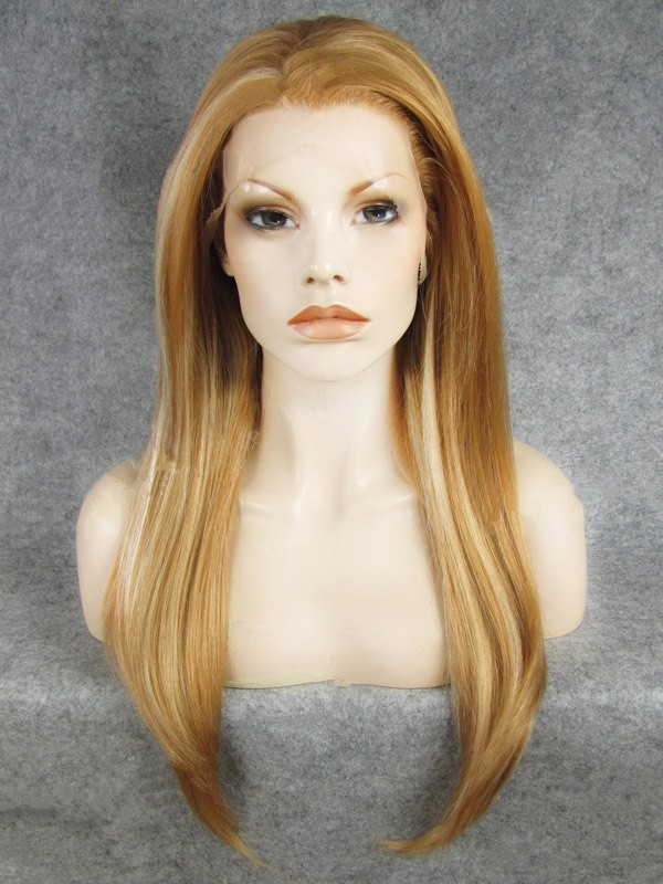 "24"" Auburn With Blonde Straight Lace Front Synthetic Wigs Wigs VGW05080"