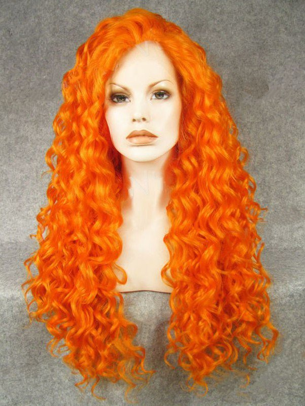 "26"" Orange Red Curly Lace Front Synthetic Wigs Wigs VGW05081"