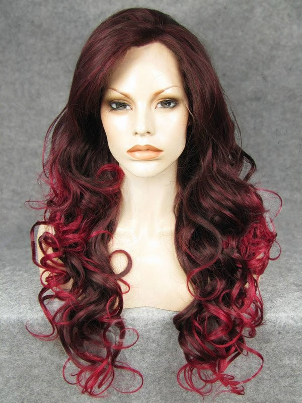 "24"" Bright Rust Red To Cranberry Curly Lace Front Wigs Wigs VGW05082"