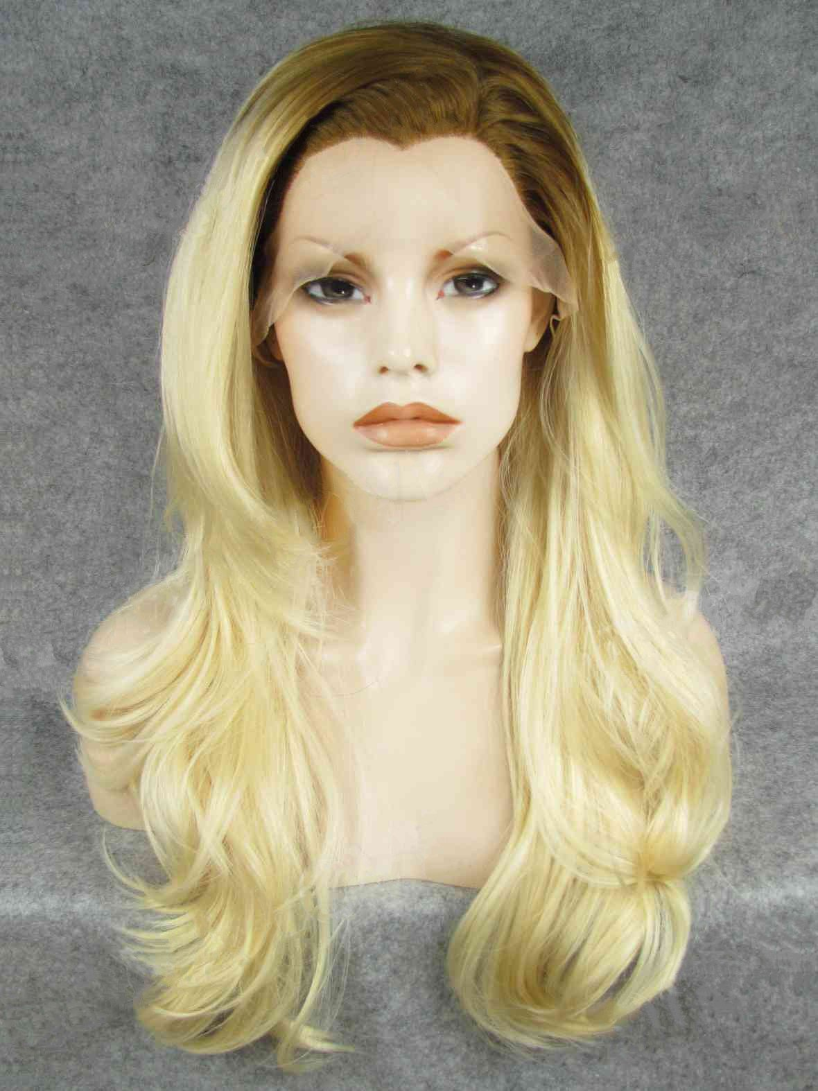 "22"" Brown To Blonde Wavy Lace Front Synthetic Wigs Wigs VGW05083"
