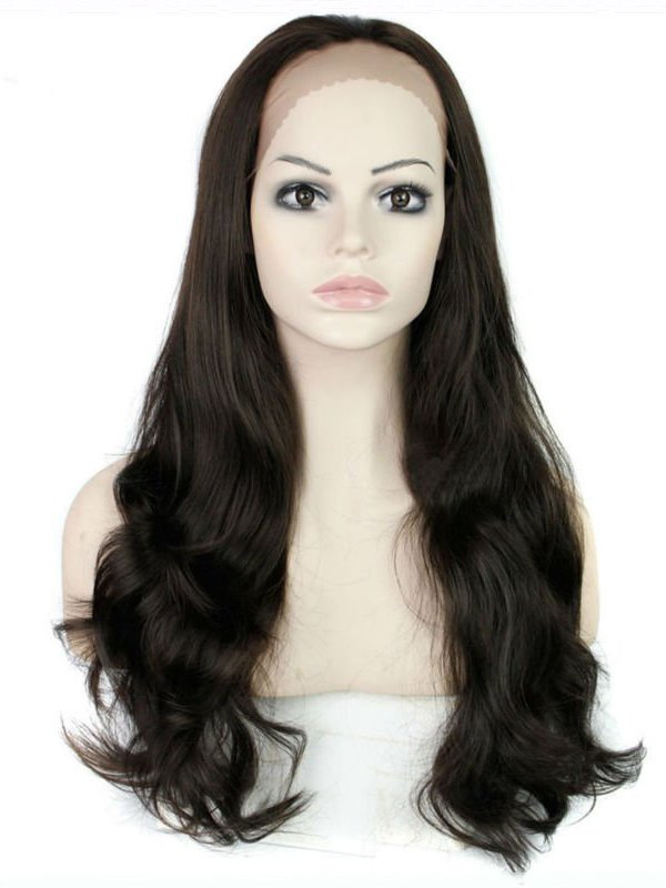"24"" Black Straight Lace Front Synthetic Wigs Wigs VGW05084"