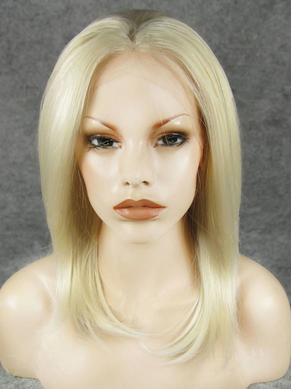 "14"" Blonde Straight Lace Front Synthetic Wigs Wigs VGW05087"