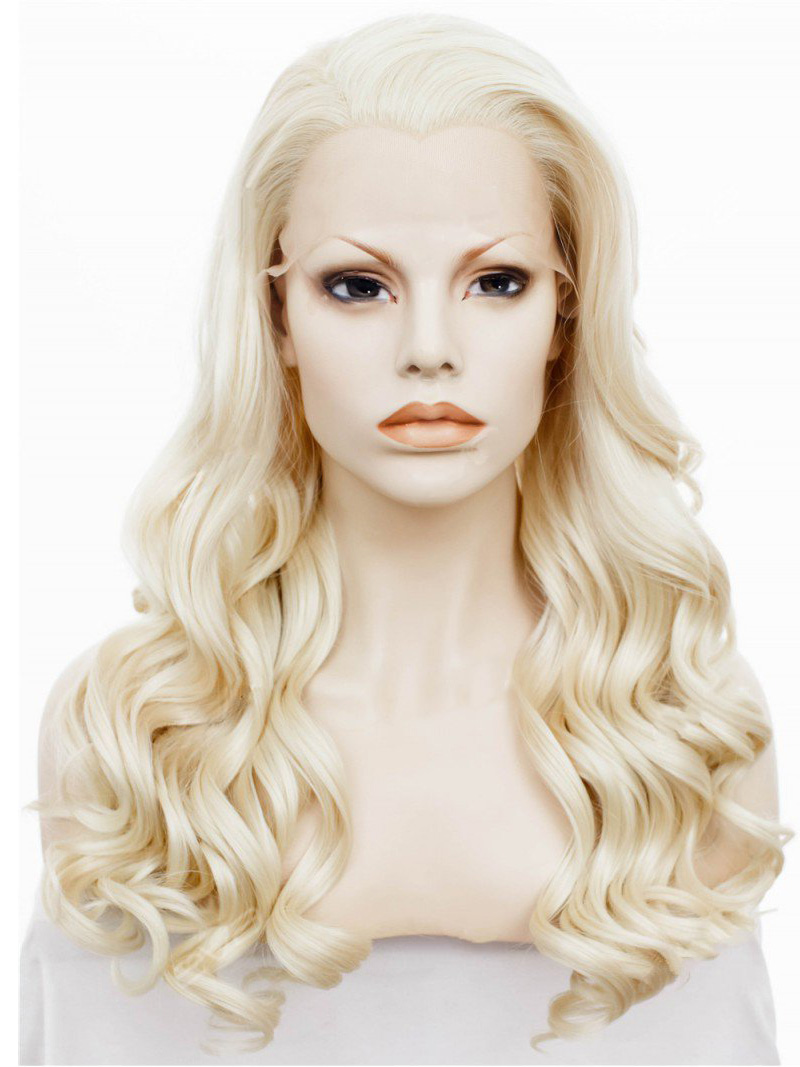 "24"" Blonde Wavy Lace Front Synthetic Wigs Wigs VGW05089"