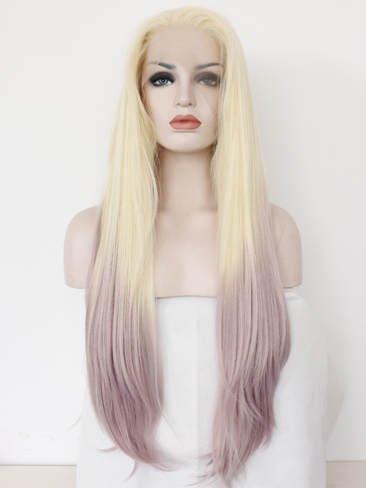 "26"" Blonde To Lilac Straight Lace Front Synthetic Wigs Wigs VGW05091"