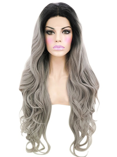 Cheap Lace Front Black To Silver VivHair Wig VGW05110