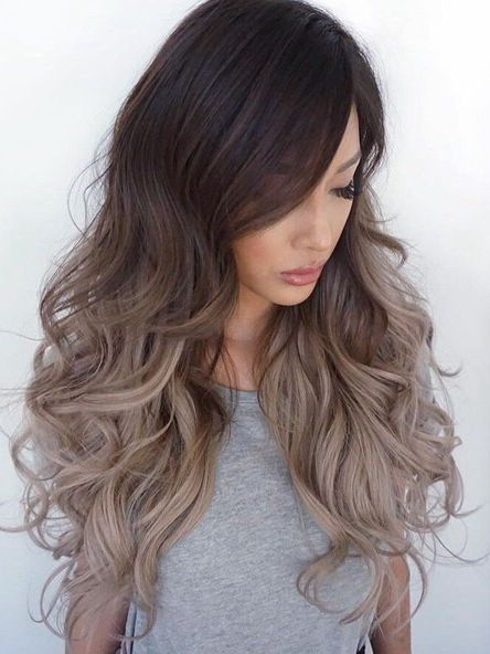 "22"" Dark Brown To Silver Ombre Lace Front Wigs VGW06009"