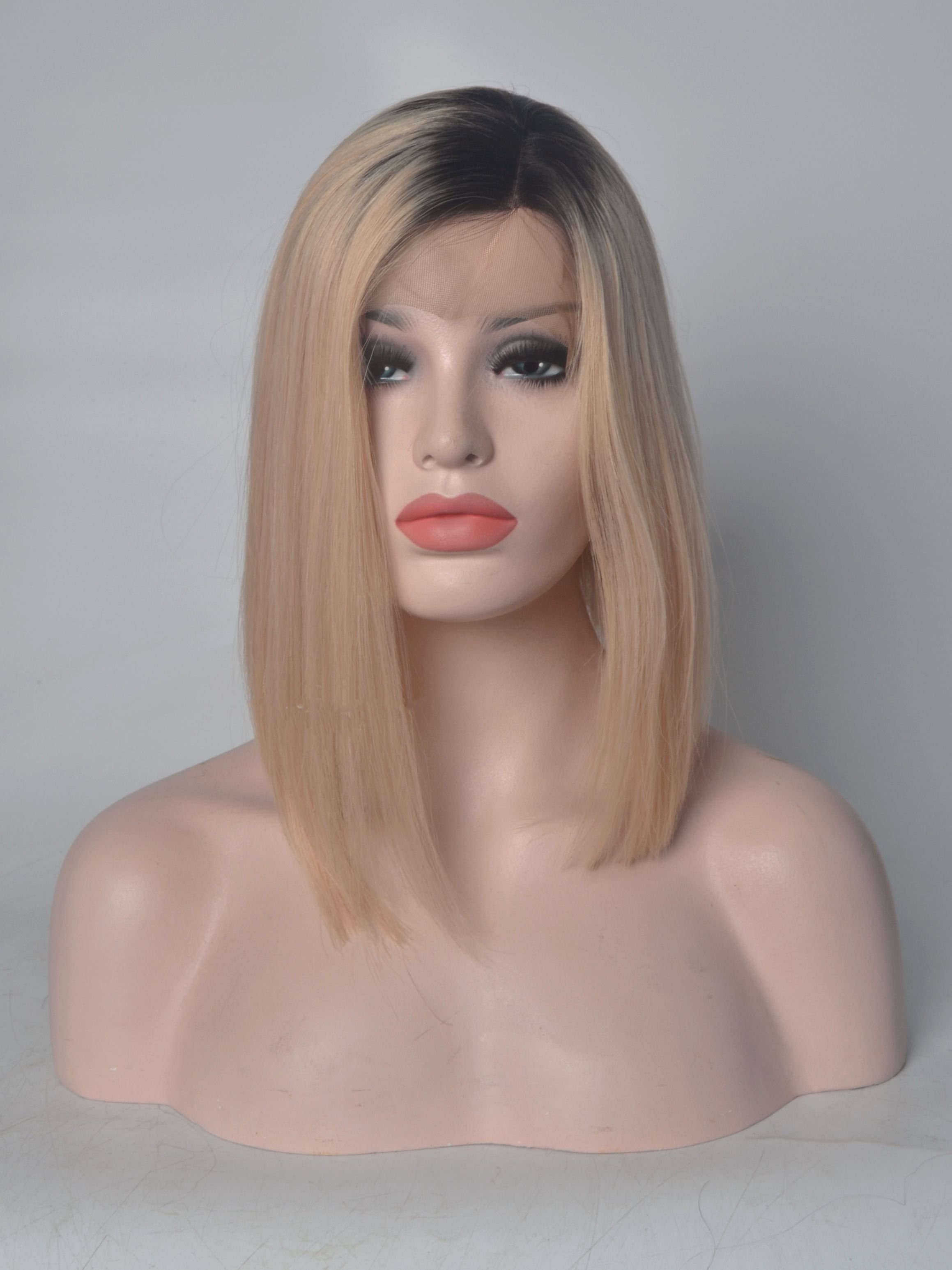 Shoulder Length Black To Blonde Human Hair Wigs VGW06020