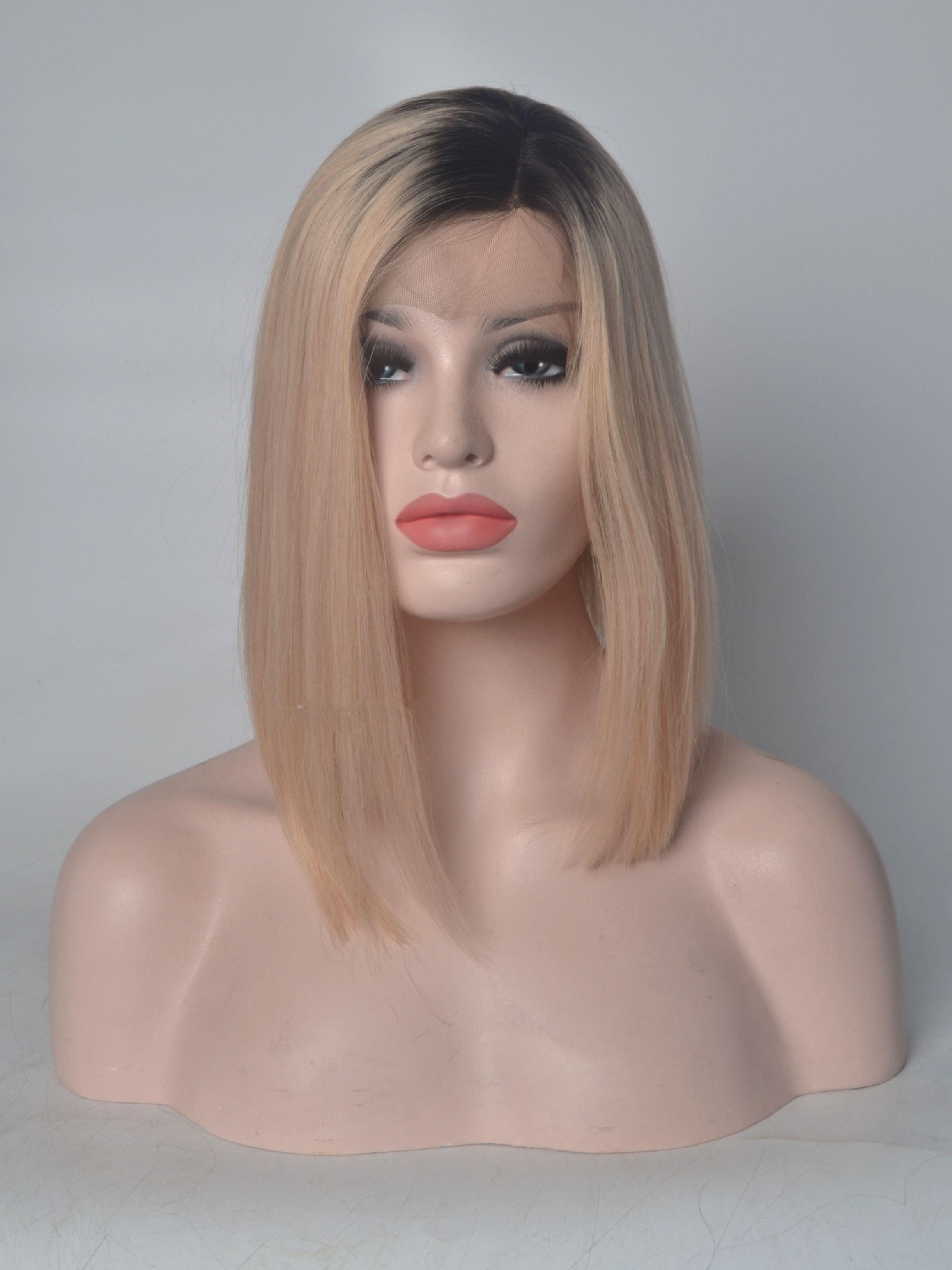 Shoulder Length Black To Blonde Human Hair Wigs VGW06020