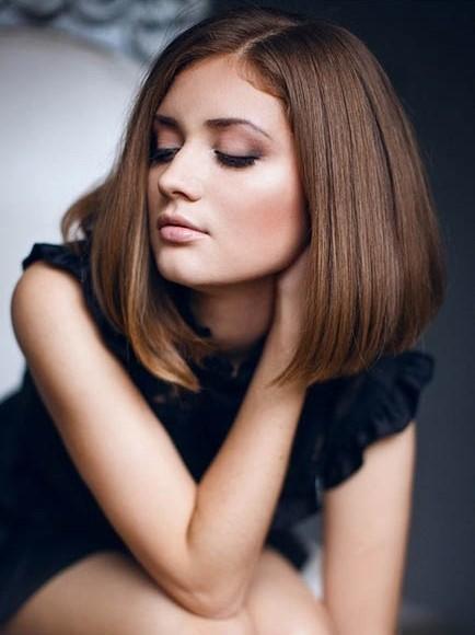 Shoulder Length Auburn Human Hair Without Bangs Wigs VGW06025