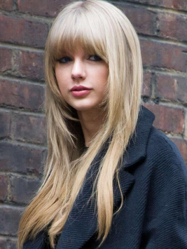 Long Blonde Human Hair With Bangs Wigs VGW06029