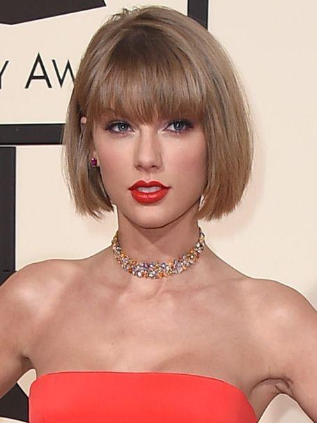 Chin Length Blonde Human Hair Taylor Swift Bob Wigs VGW06034
