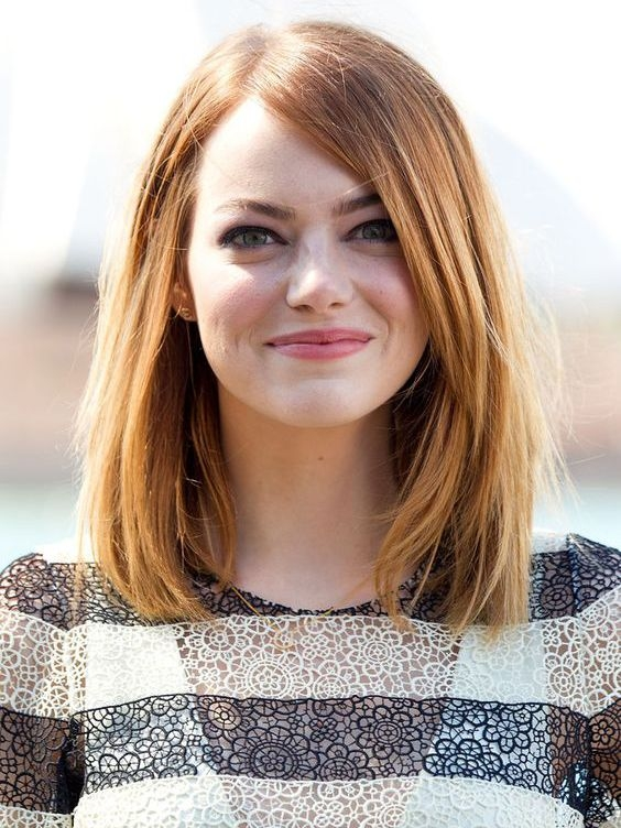Shoulder Length Reddish Blonde Human Hair Long Bob Wigs VGW06035