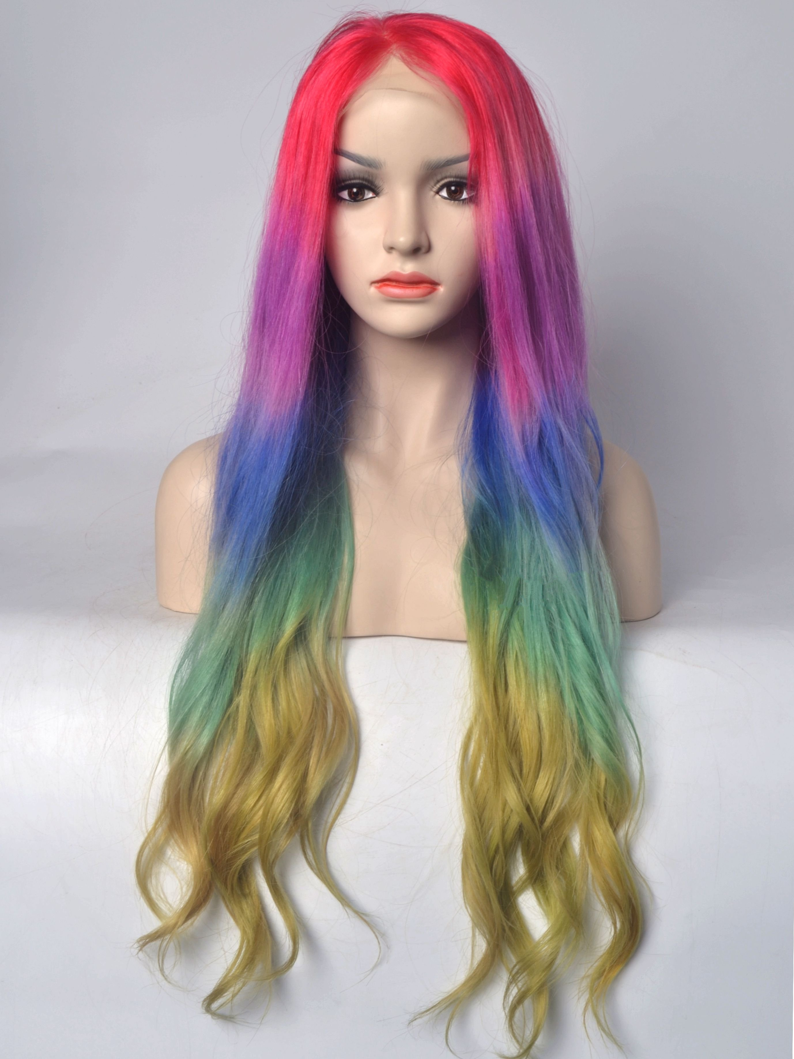 """Rainbow Colorful 26"""" Human Hair Lace Front Wigs VGW06042"""
