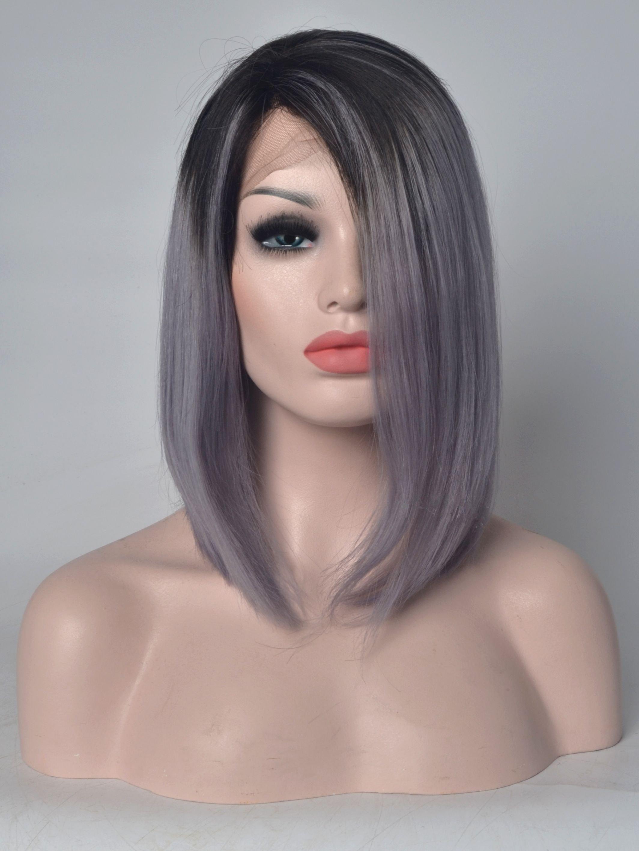 "Black To Silver 14"" Human Hair Lace Front Long Bob Wigs VGW06043"