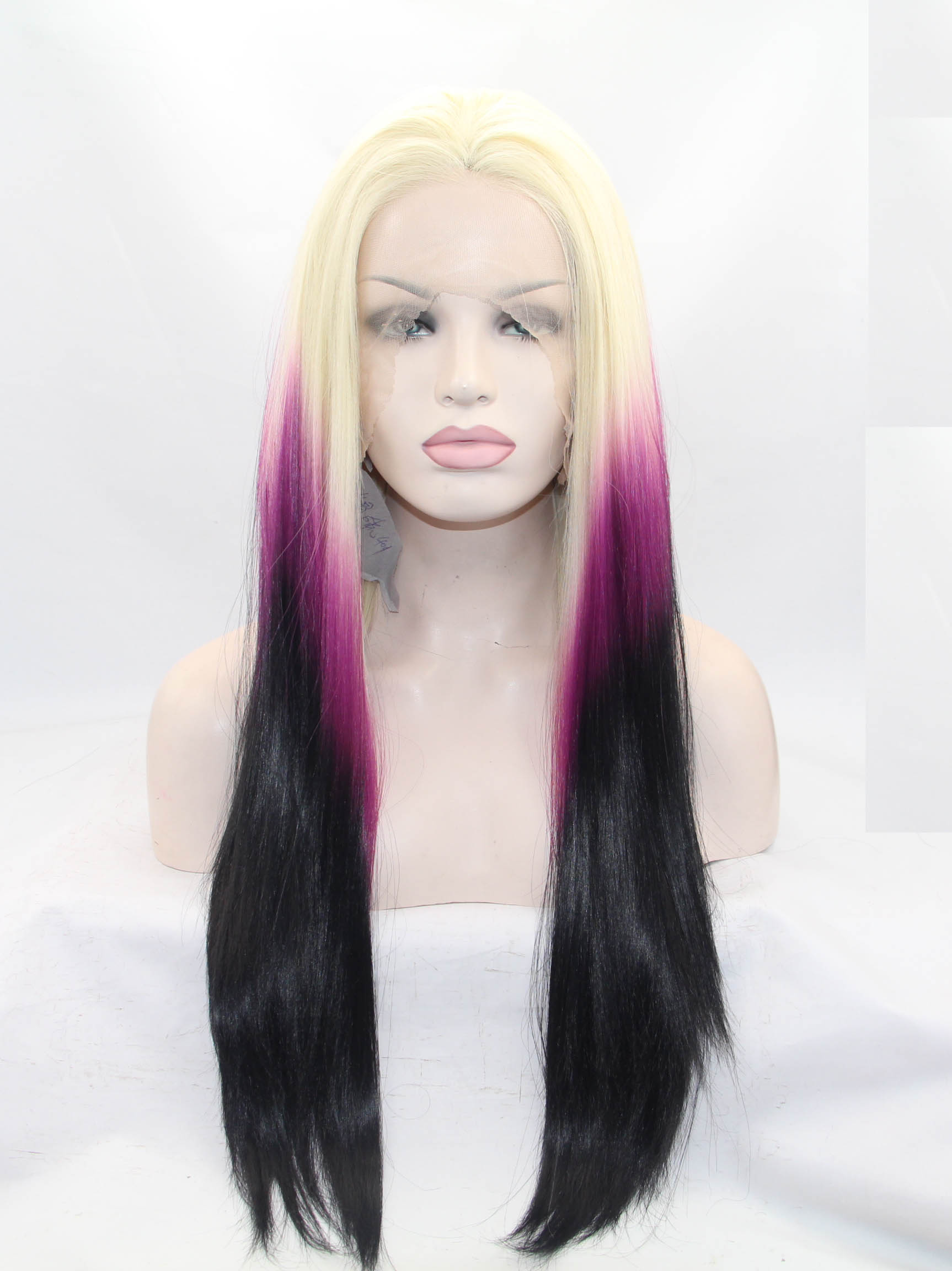 Lace Front Blonde To Fuchsia To Black Natural Hair Wigs