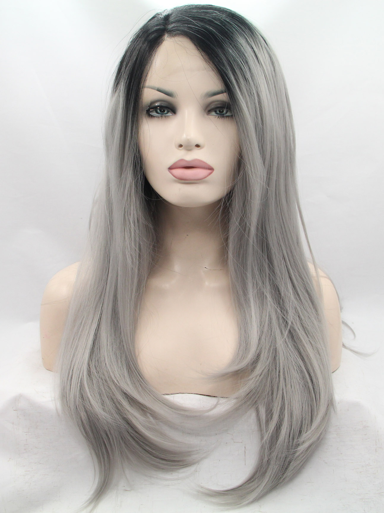 "Black To Grey 24"" Wavy Ladies Synthetic Wigs"