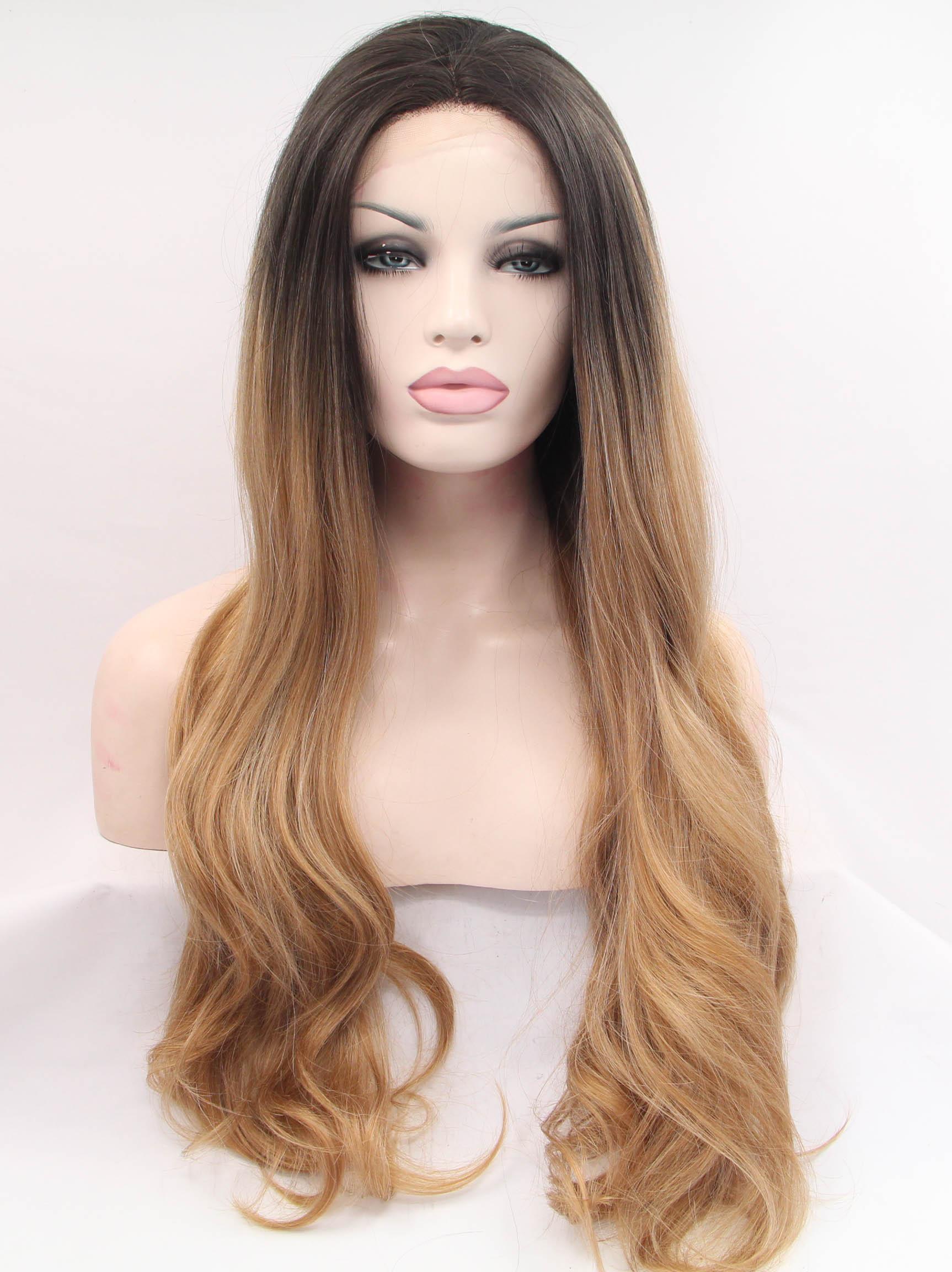 """Black To Auburn 26"""" Wavy Hair Wigs Cheap"""