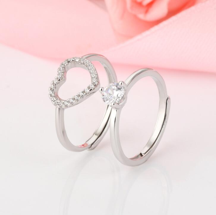 1 Pair Love Heart Adjustable Ring Hollow Endless Love Lovers Couples Rings for Women Men Engagement Wedding Valentine's Day Jewelry Gifts