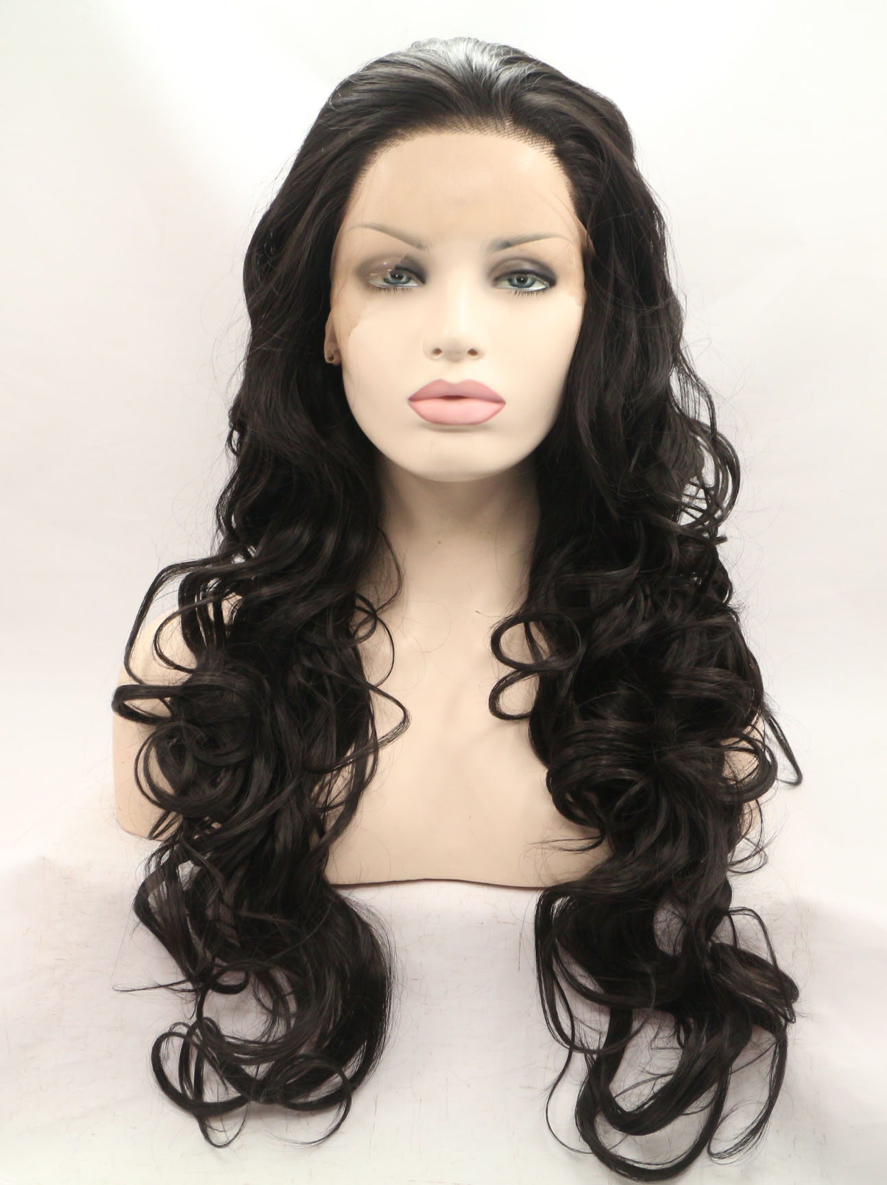 "Black 26"" Synthetic Wigs Lace Front Wigs VGW05016"
