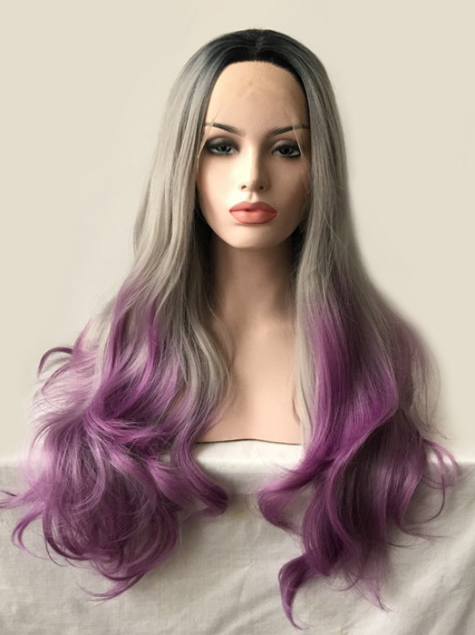"Black To Silver To Lilac 24"" Synthetic Wigs Lace Front Wigs VGW05100"