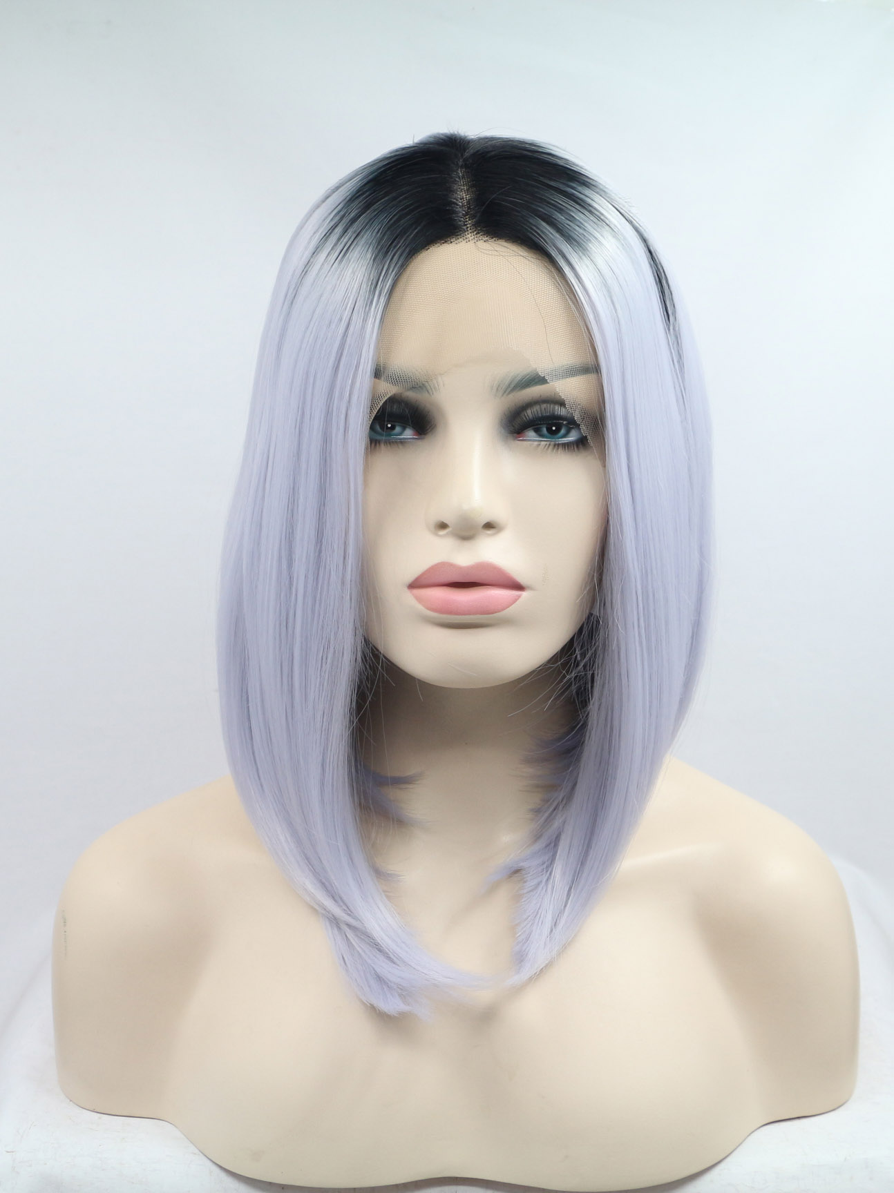 """Black To Silver 12"""" Synthetic Wigs Lace Front Wigs VGW05106"""