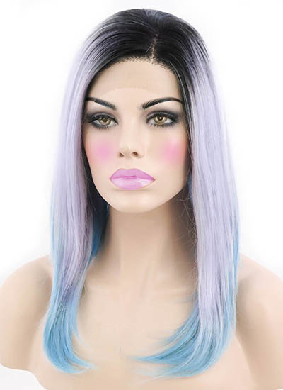 """Black To Lilac To Blue 12"""" Synthetic Wigs Lace Front Wigs VGW05108"""