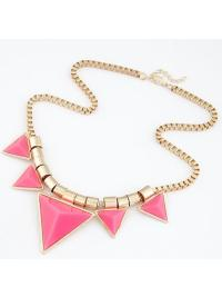 Gemstone Pink Imitation Chunky Statement Necklace VGA07004