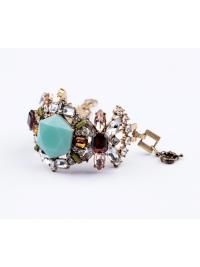 Gemstone Retro Multicolor Gold Bracelet VGA07014