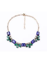 Gold Leaves Chain Green Gemstone Necklace VGA07019