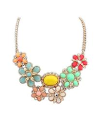 Gemstone Multicolor Gold Leaves Chain Necklace VGA07020